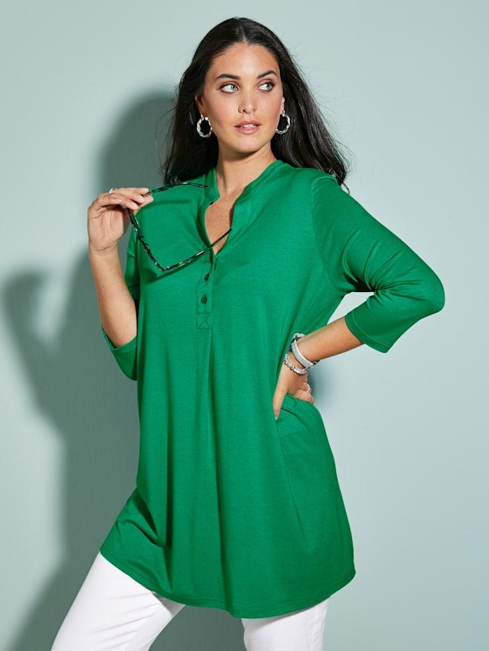 MIAMODA T-shirt long à patte boutonnée, Vert