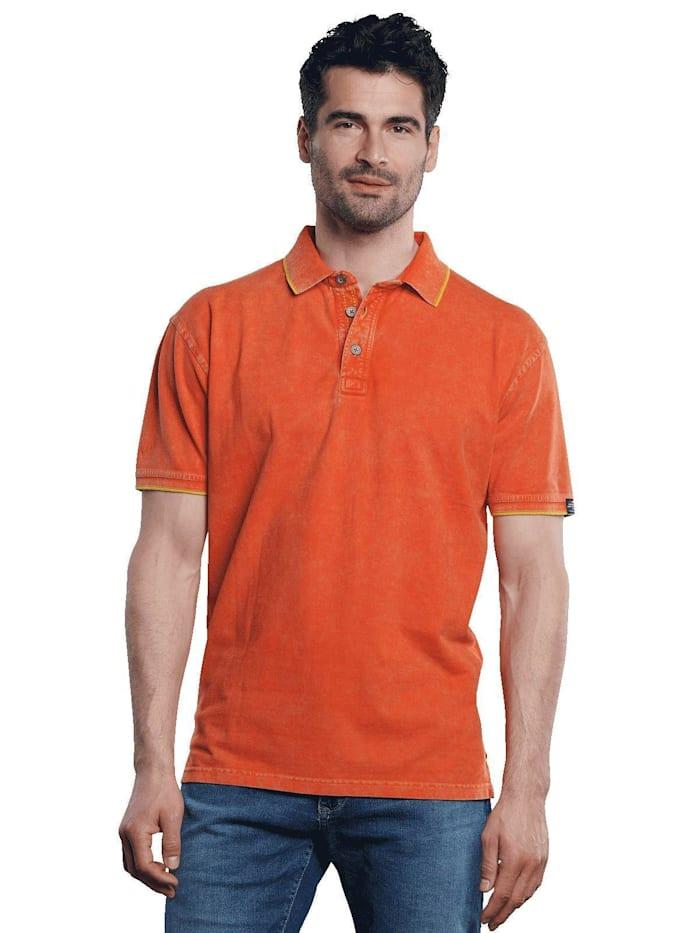 Engbers Poloshirt mit sportiven Details, Signalorange
