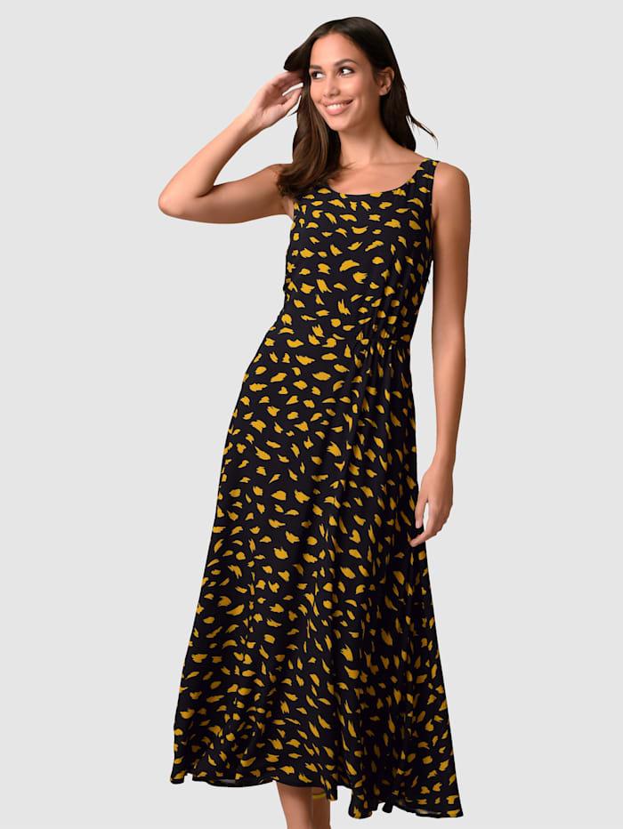 Alba Moda Kleid im Tupfendessin, Schwarz/Gelb