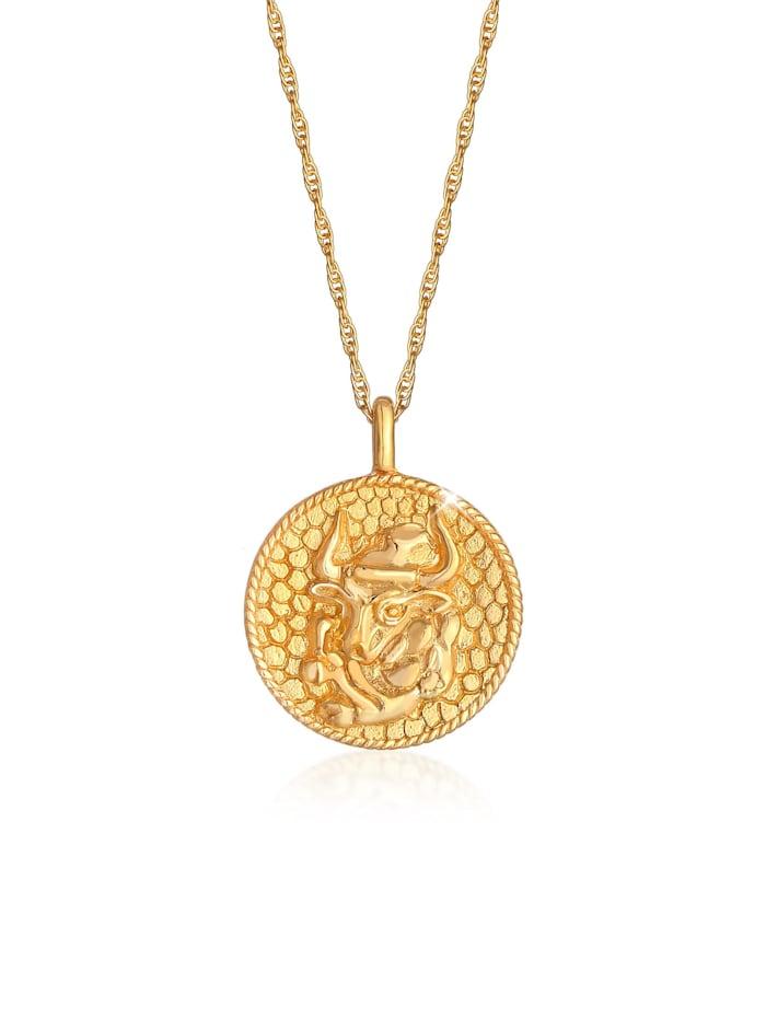 Elli Halskette Sternzeichen Stier Astro Münze 925 Silber, Gold