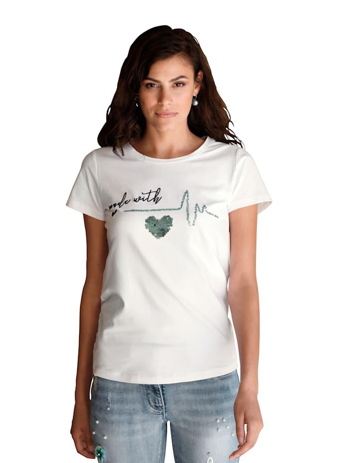 AMY VERMONT Shirt mit Pailletten und Stickerei, Weiß