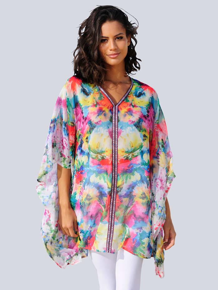 Alba Moda Strandtunika mit Zierborte, Multicolor
