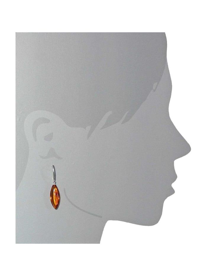 Ohrhänger - Spitzolive 24x10 - Silber 925/000 - Bernstein