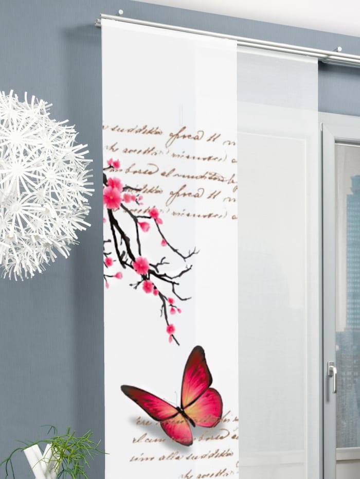"Home Wohnideen Panneau japonais ""papillon"", Fuchsia"