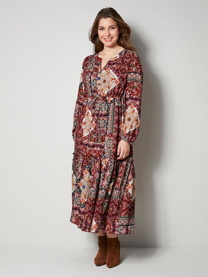 Sara Lindholm Web-Kleid im Mustermix, Terracotta