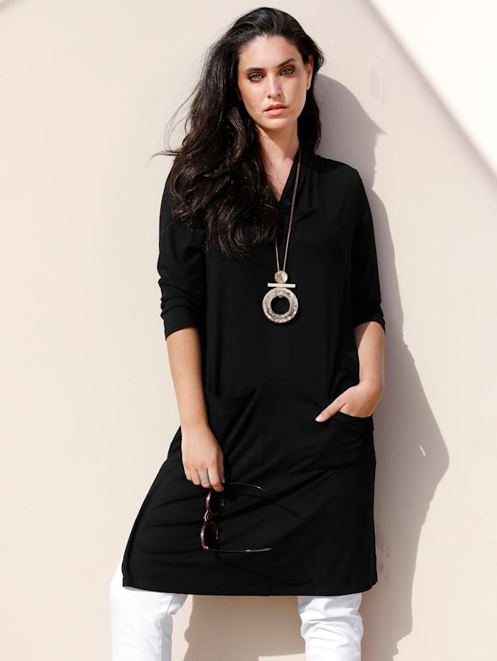 MIAMODA Longshirt mit modischer Kragenform, Schwarz