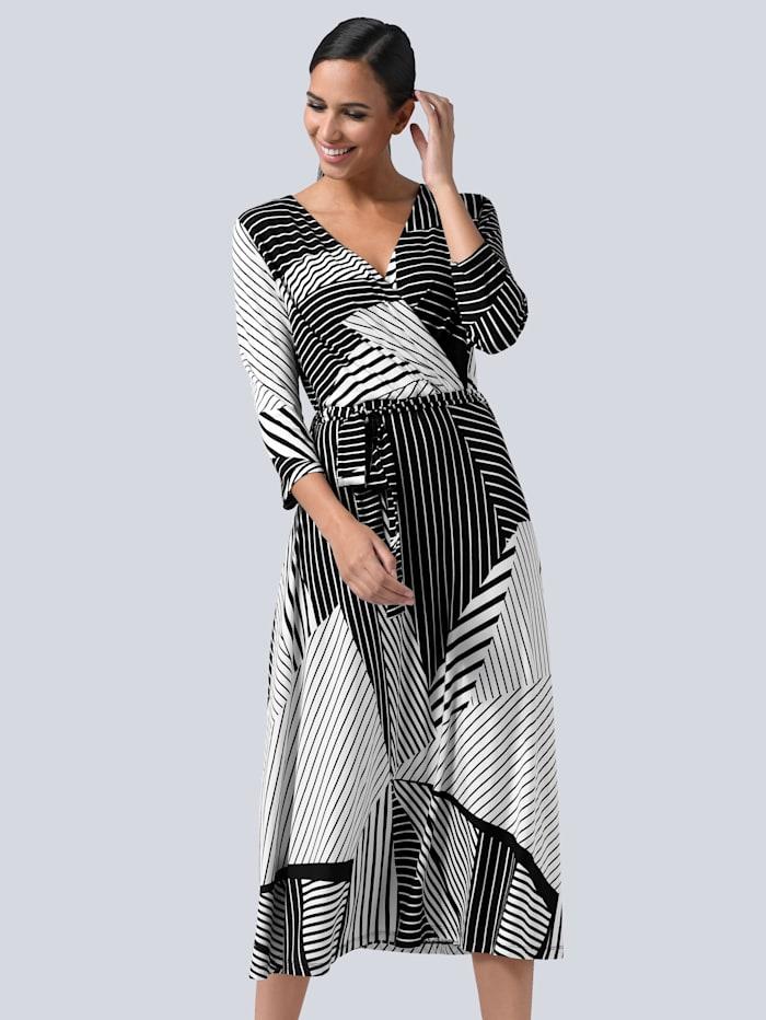 Alba Moda Šaty v zavinovacom vzhľade, Čierna/Biela