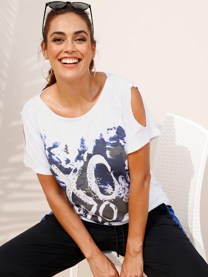 MIAMODA Shirt mit Cut-Out an den Ärmeln, Weiß/Royalblau