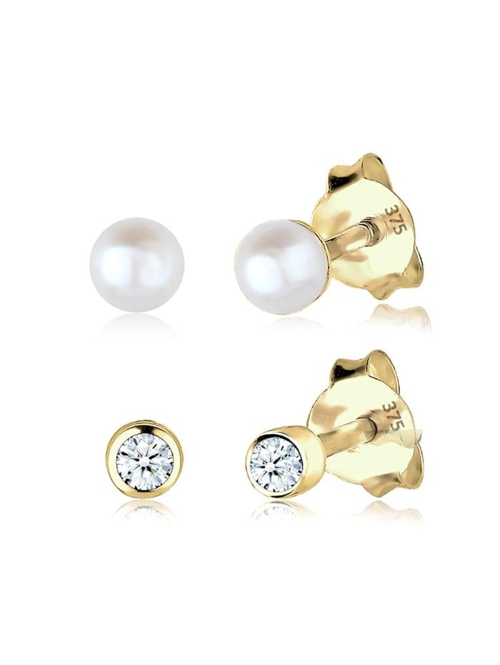 Elli Premium Ohrringe Diamant (0.06 Ct) Süßwasserzuchtperle 375 Gelbgold, Gold