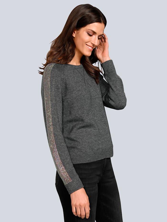 JETTE JOOP Pullover mit schmückenden Strasssteinchen, Grau