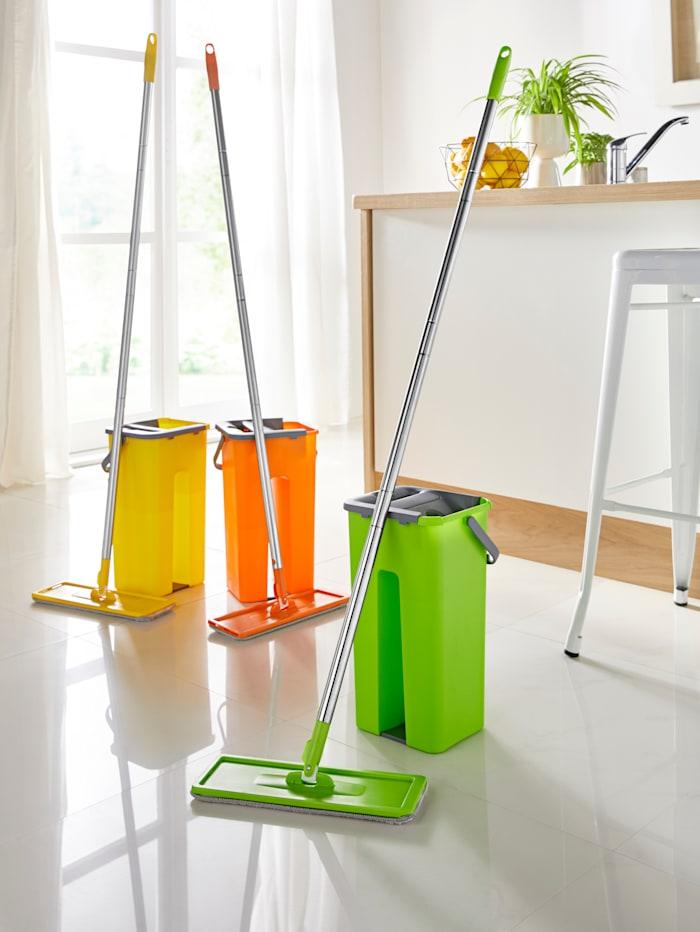 Clever Clean Wasch & Dry Wischsystem mit Zweikammer-Aufsatz, orange/grau