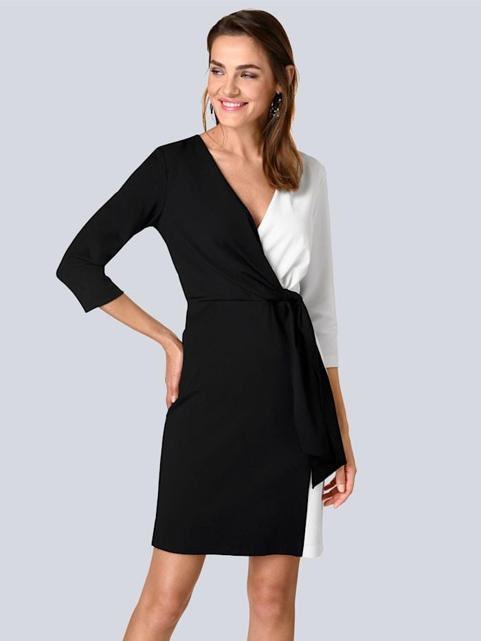 Alba Moda Kleid zweifarbig gearbeitet, Schwarz/Weiß