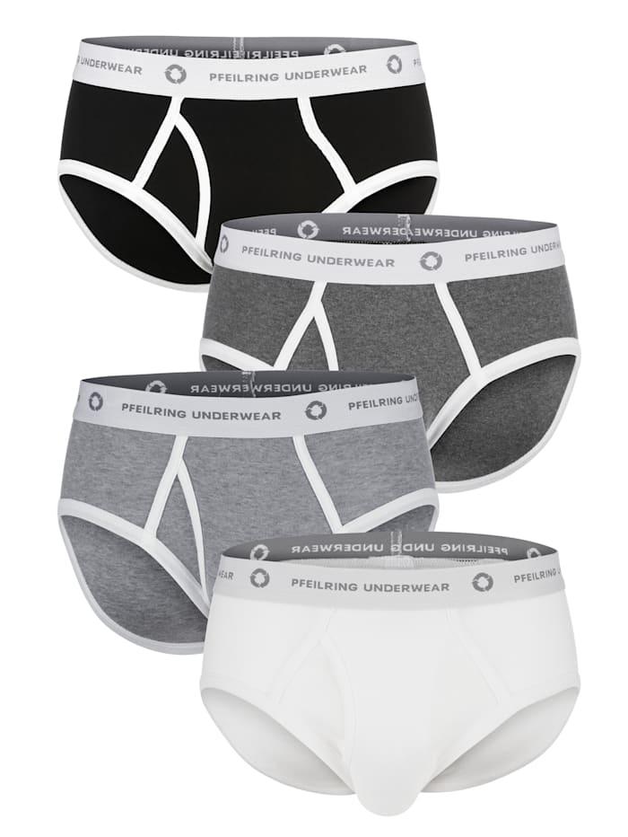 Pfeilring Luomupuuvillaiset alushousut, Valkoinen/Antrasiitti/Vaaleanharmaa/Musta