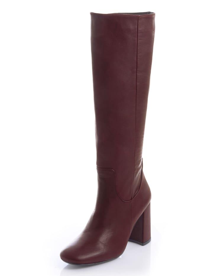 Alba Moda Stiefel aus handschuhweichem Leder, Bordeaux