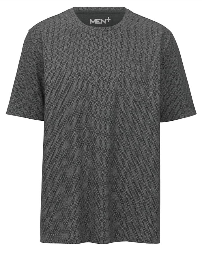 Men Plus Rintataskullinen T-paita, Musta/Harmaa