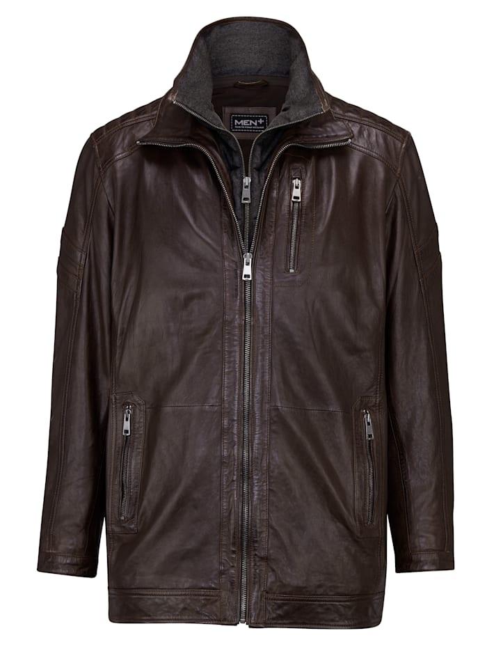 Men Plus Kožená bunda s príložkou a odopínateľným ležatým golierom, Tmavohnedá
