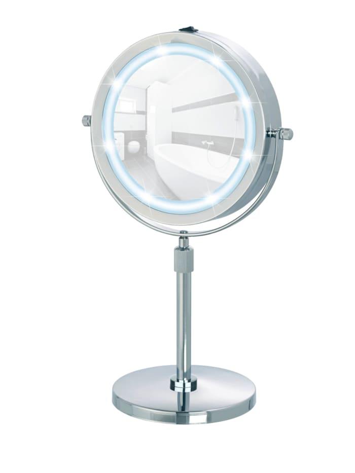 Wenko LED Kosmetikspiegel Lumi, Standspiegel, 5-fach Vergrößerung, Chrom