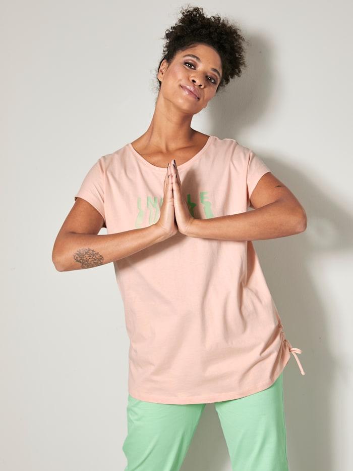 Janet & Joyce Shirt mit Tunnelzug am Saum, Hellrosa/Mintgrün