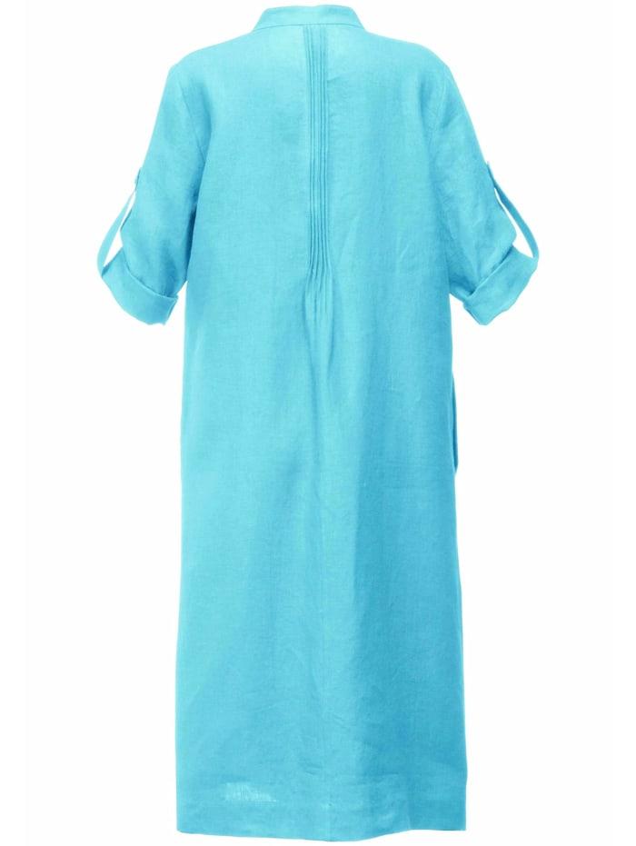Abendkleid Kleid aus 100% Leinen mit Stehkragen
