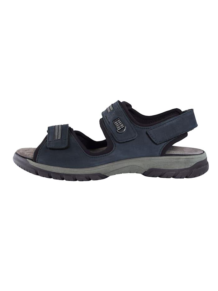 Sandaal van nubuckleer met sierbanden