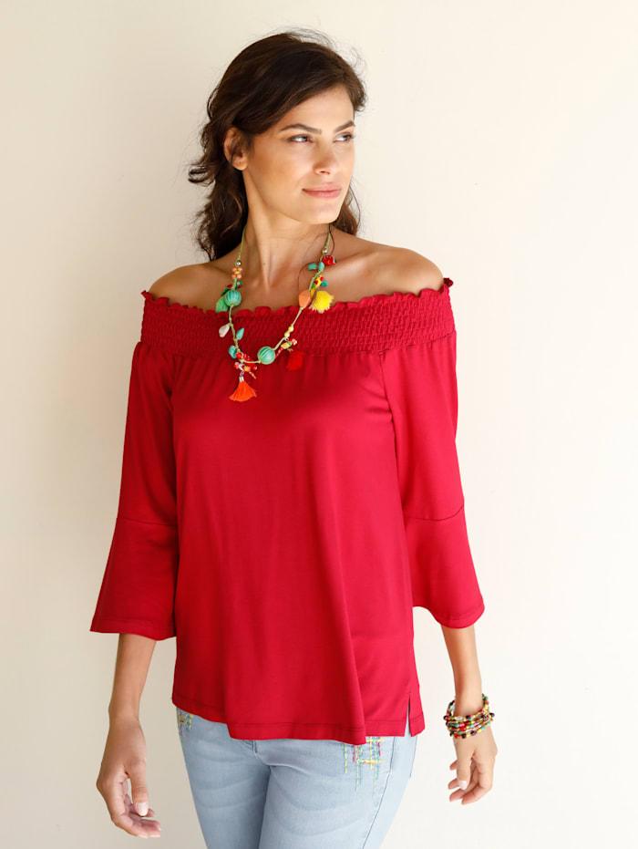AMY VERMONT Shirt mit Carmen-Ausschnitt, Rot