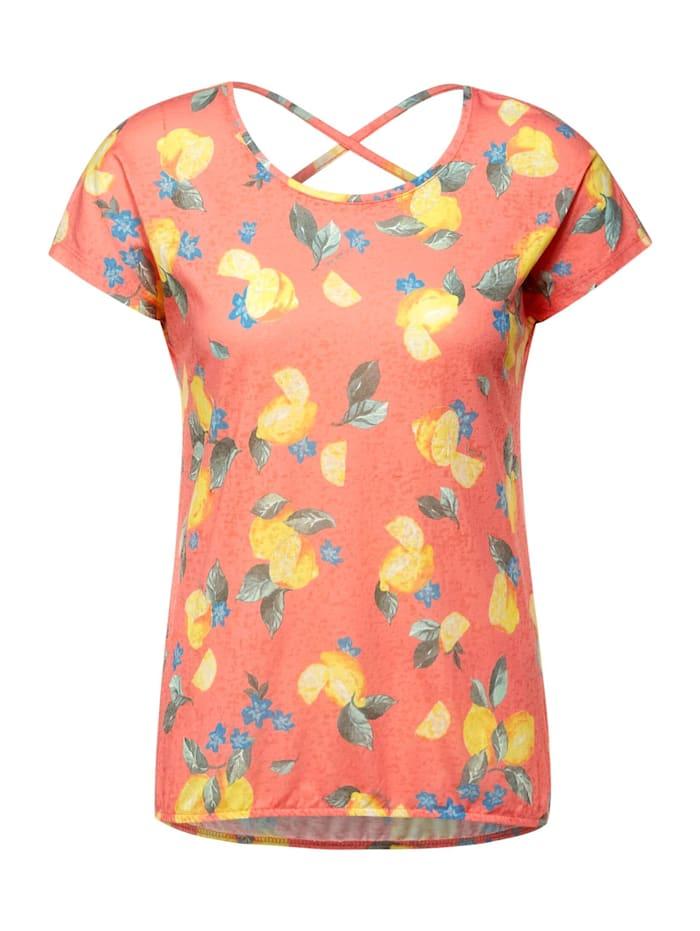 Cecil T-Shirt mit Burnout Optik, fresh coral