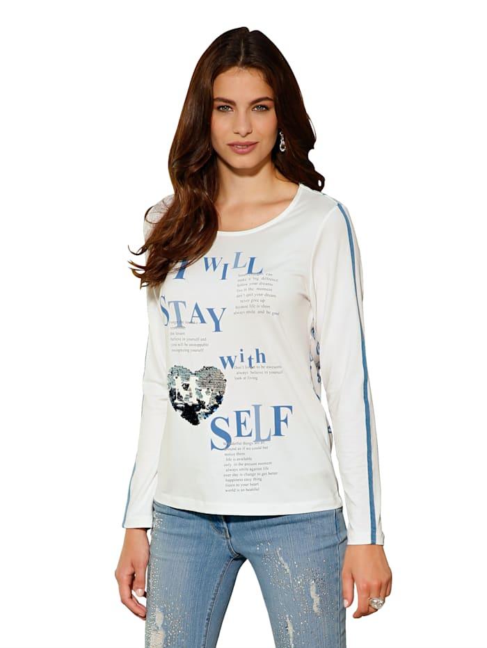 AMY VERMONT Shirt mit Motiv im Vorderteil und bedrucktem Rückteil, Off-white/Blau