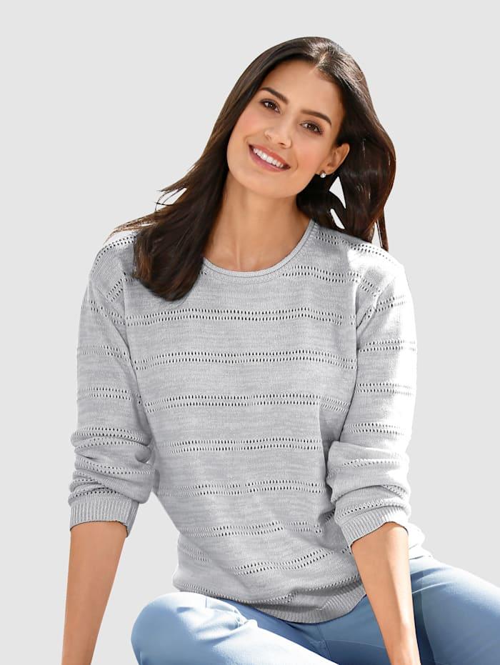 Dress In Pullover im modischen Ajourstrick, Grau