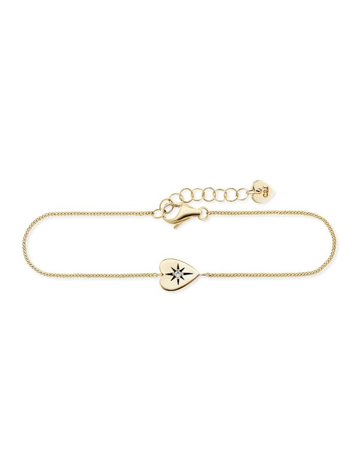 CAI Armband 925/- Sterling Silber Zirkonia 16+3cm Glänzend, gelb