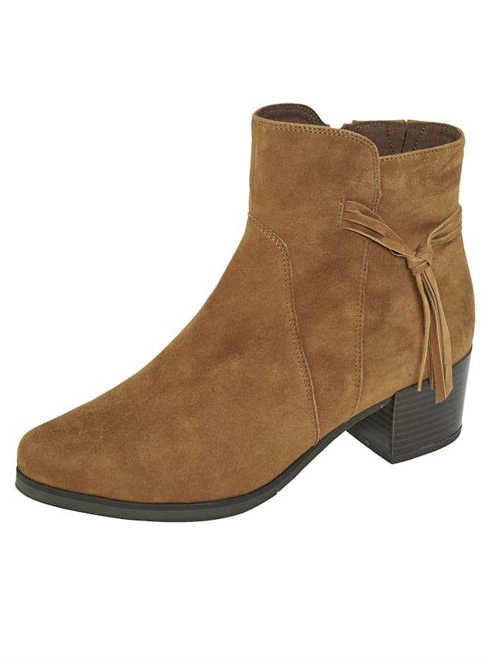 MONA Ankle boots with fringe detail, Brown