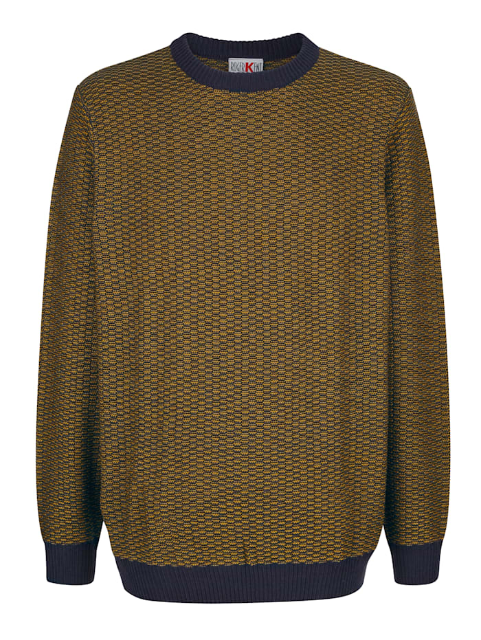 Roger Kent Tröja med stickat mönster, Gul/Marinblå