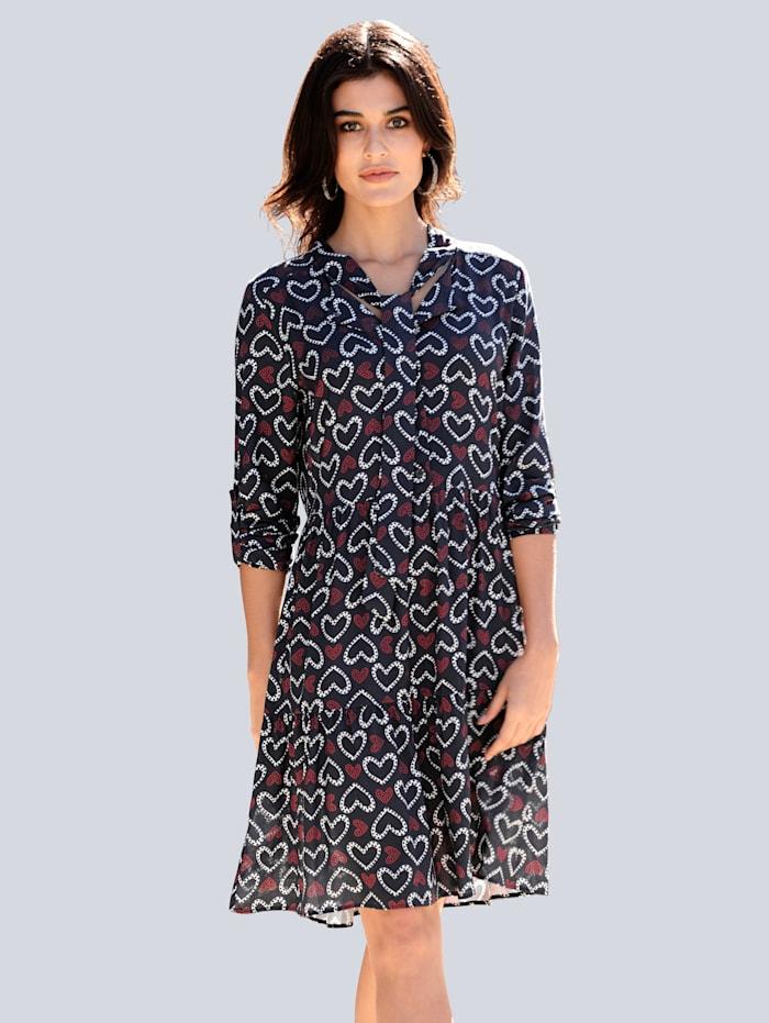Alba Moda Kleid im exclusiven Dessin nur bei Alba Moda, Marineblau/Rot/Weiß