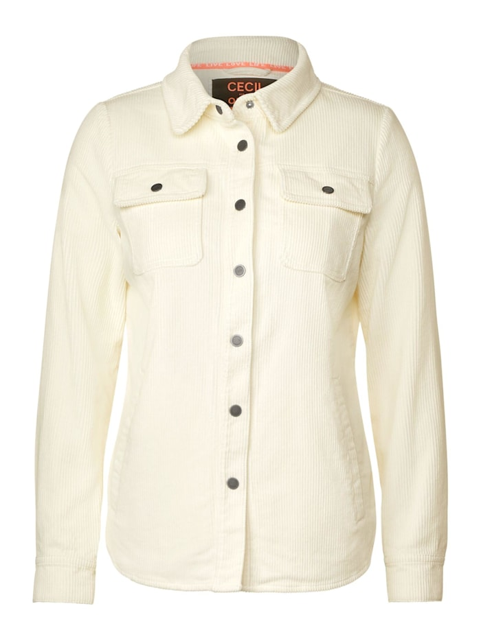 Cecil Overshirt in Cord-Optik, pure off white