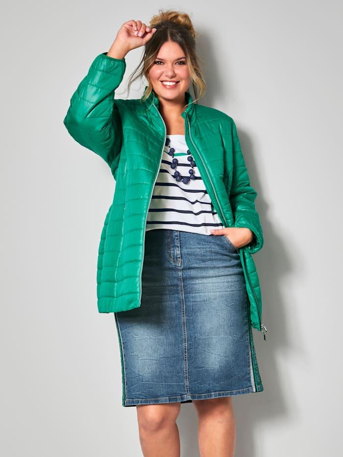 Janet & Joyce Doorgestikte jas met tweewegrits, Groen