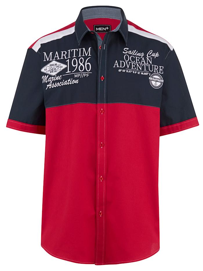 Men Plus Poloskjorte med korte ermer, Rød/Marine/Hvit