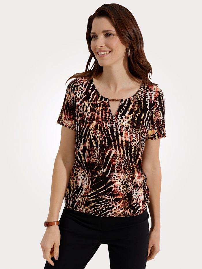 MONA Shirt Opvallend dessin, Zwart/Steenrood/Geel