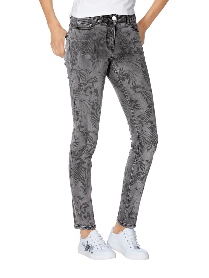 Jeans met bladerenprint rondom
