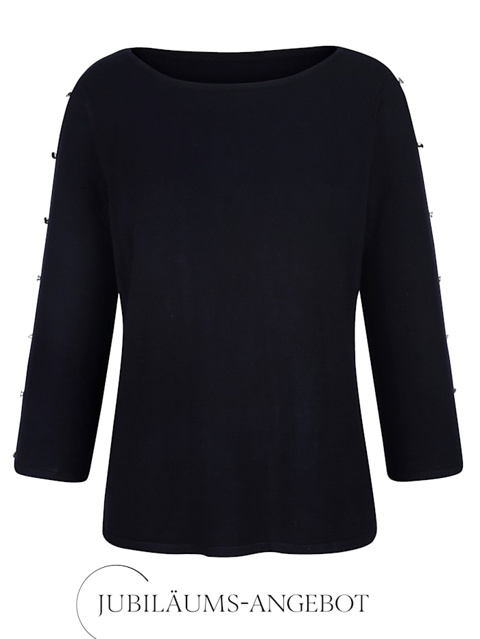 Alba Moda Pullover mit Cut-Outs am Arm, Marineblau