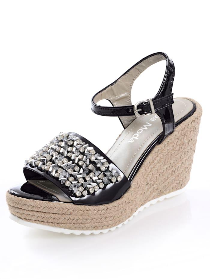 Alba Moda Sandalette mit dekorativen Steinchen, Schwarz
