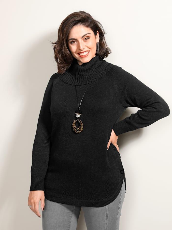 MIAMODA Pullover mit Knöpfen seitlich am Saum, Schwarz