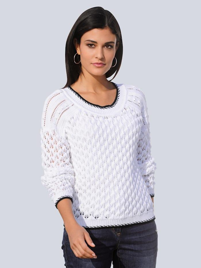 Alba Moda Pullover in schönem Ajourstrick, Weiß/Marineblau