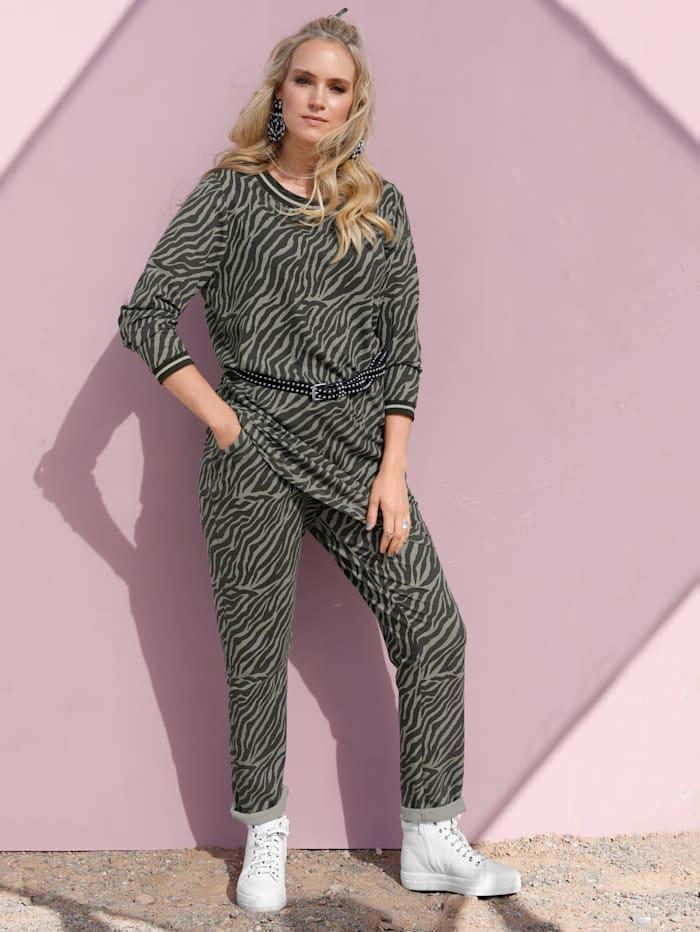MIAMODA Joggpants med zebramönster, Khaki
