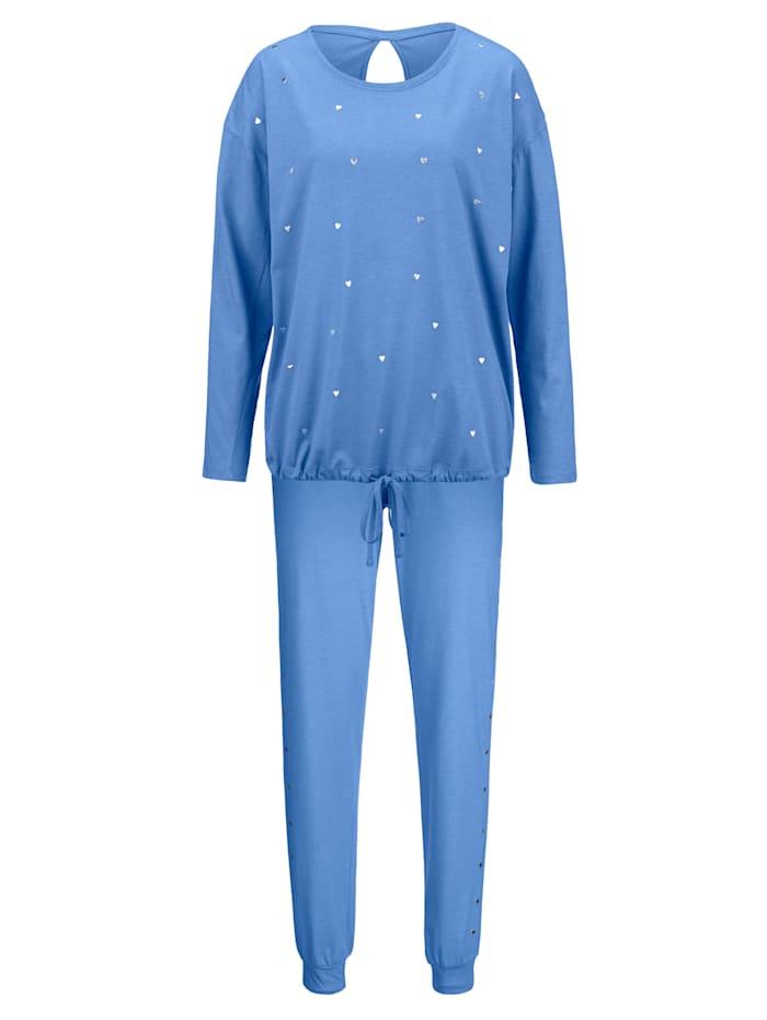Simone Pyjama met schattige metalen hartjes, azuur gemêleerd