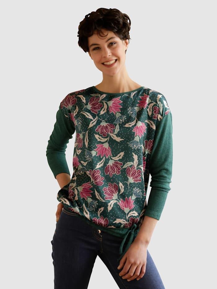 Dress In Shirt van een materialenmix, Dennengroen