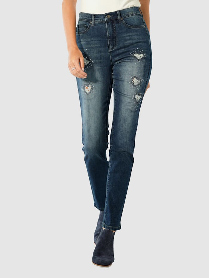 Paola Jeans mit Cut-outs in Herzform mit Spitze, Blue stone