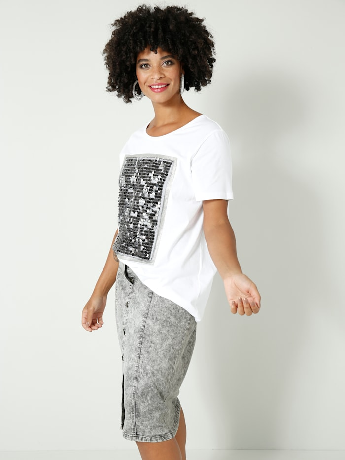 Shirt mit Pailletten und Glitzerdruck