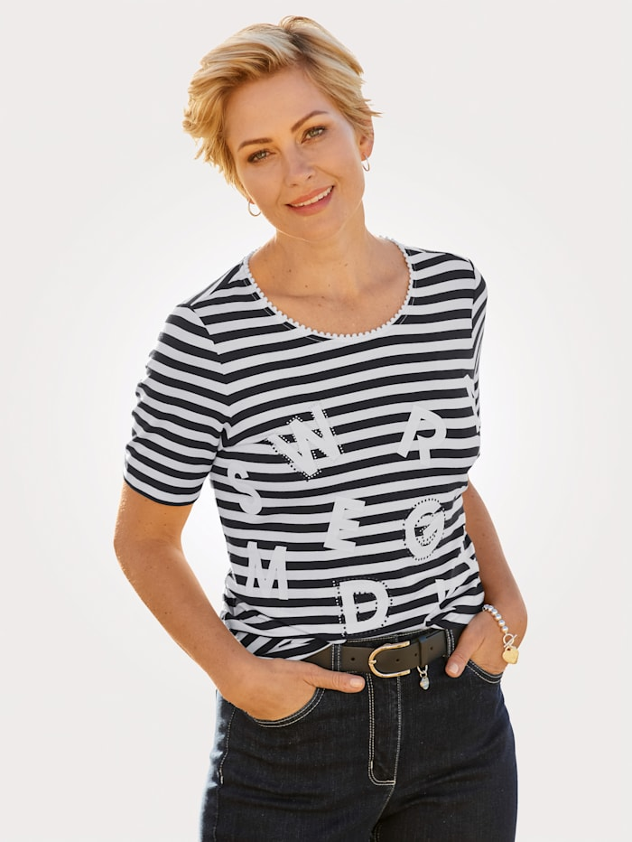 MONA Shirt mit Ringel-Dessin, Nachtblau/Weiß