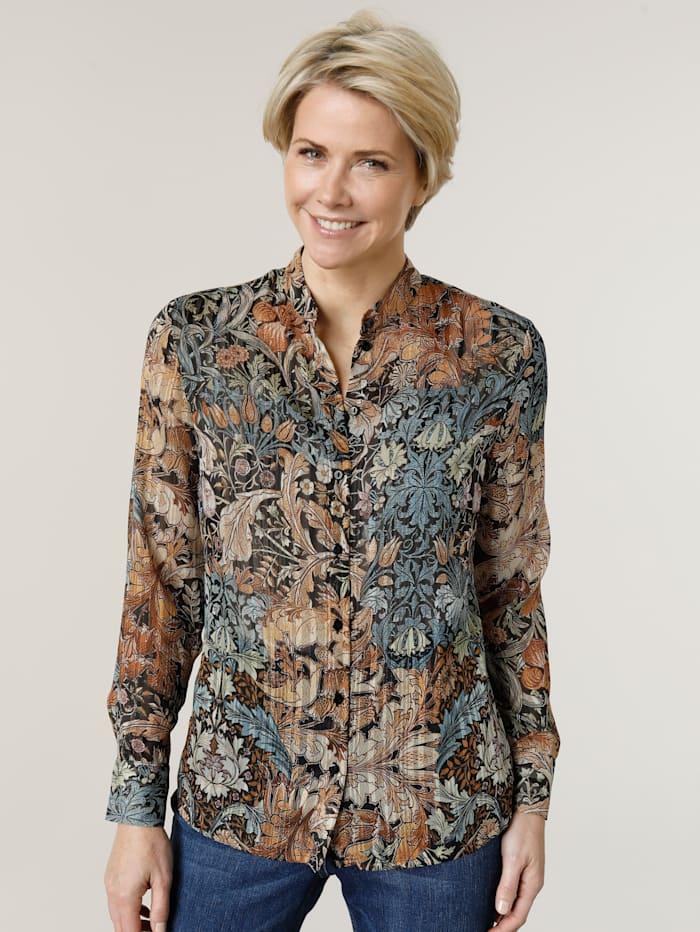 MONA Bluse mit floralem Druckdessin, Cognac/Blau