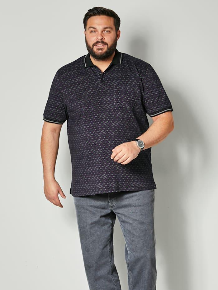 Men Plus Poloshirt aus reiner Baumwolle, Lila/Pflaume/Schwarz
