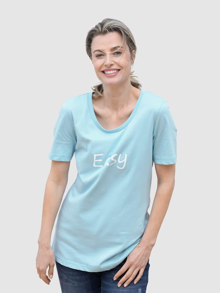 basically you Shirt mit kleinem Schriftzug, Hellblau